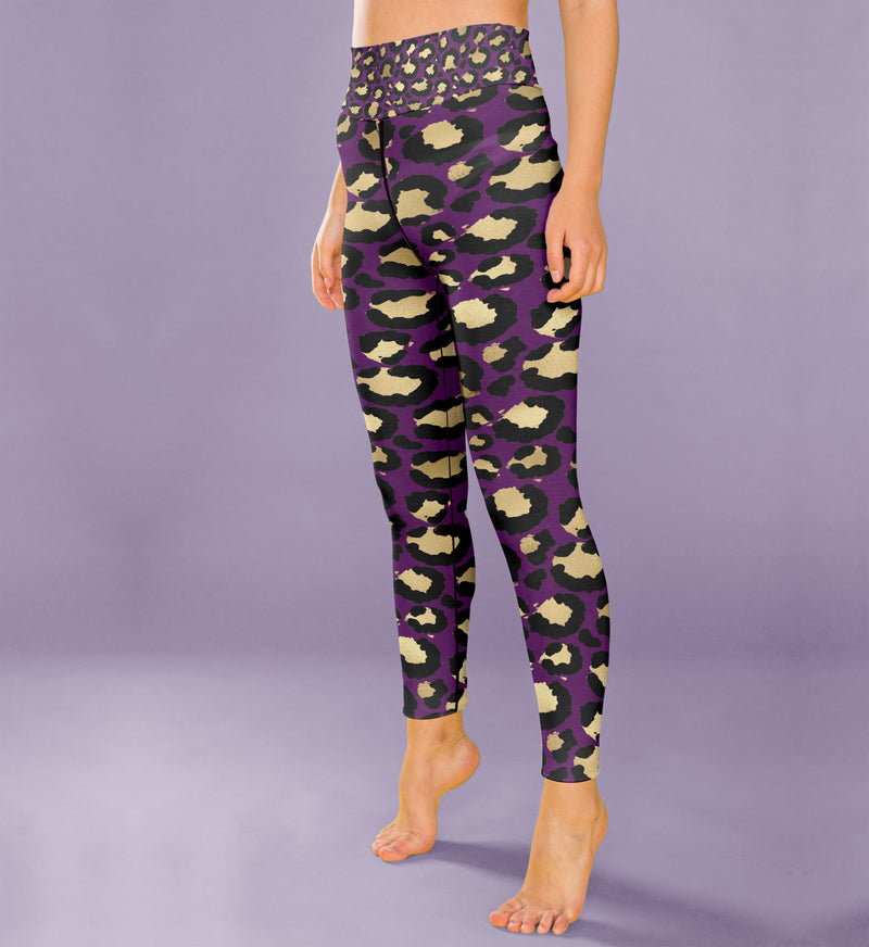 High Waist Purple Leopard Print Leggings