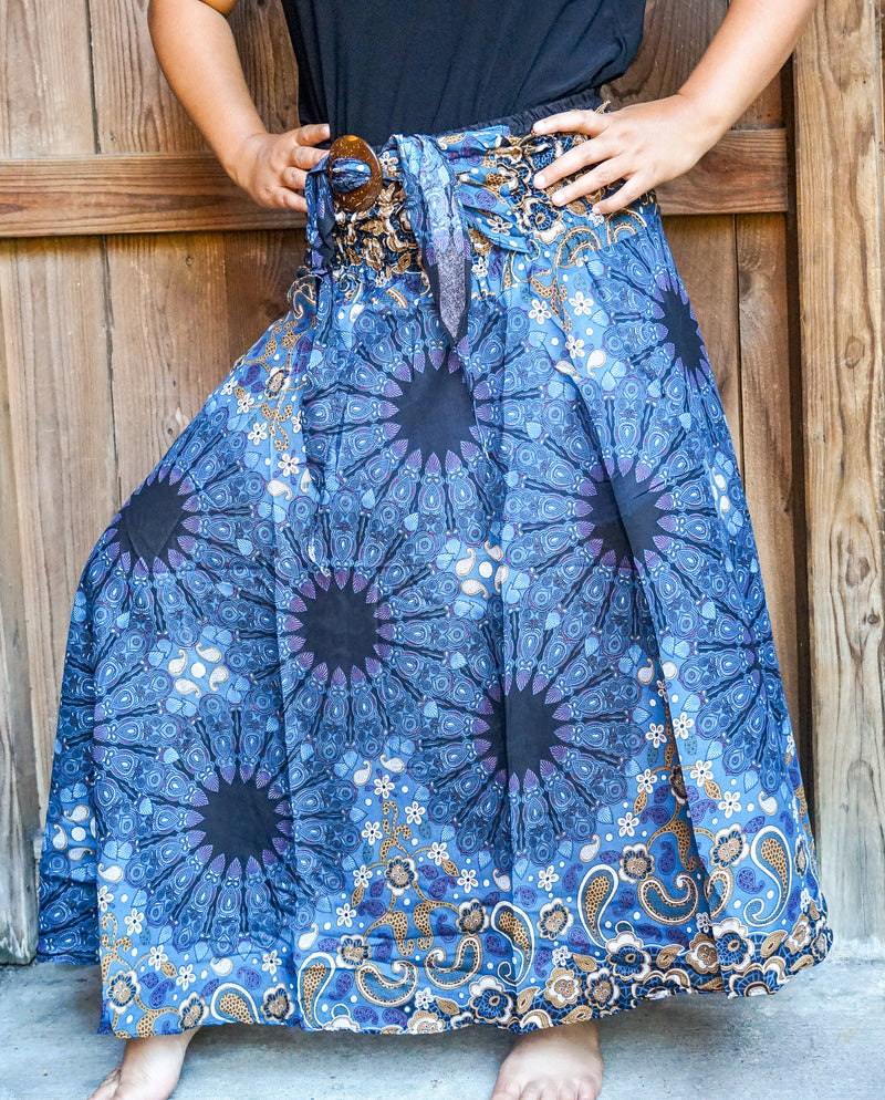Jean Blue Star Print, Gypsy Skirt