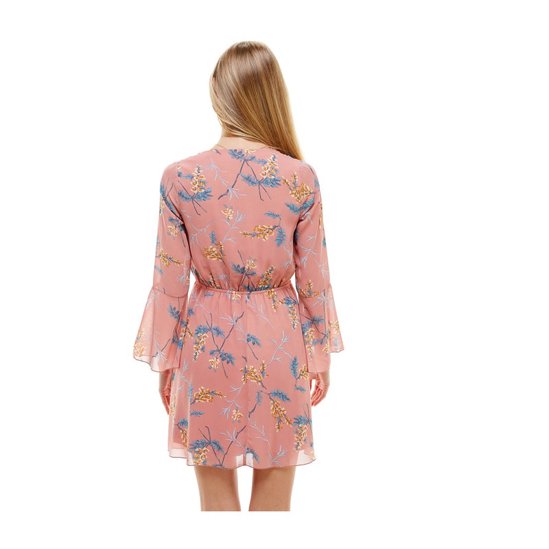 Floral V Neck Long Sleeve Skater Dress