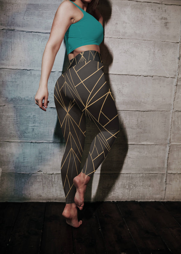 Geometry High Waist Leggings, Capris