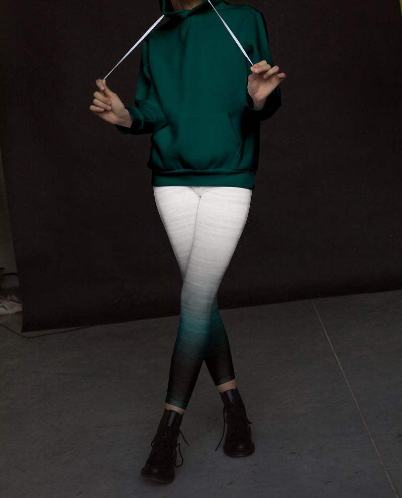 Green White Ombre Leggings, Capris, Shorts