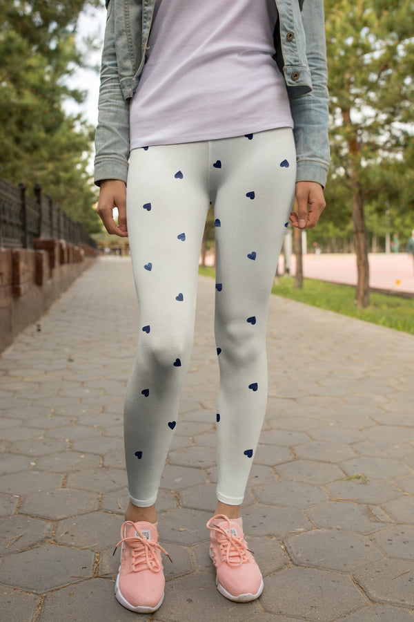 Tiny Hearts Printed White leggings, Capris and