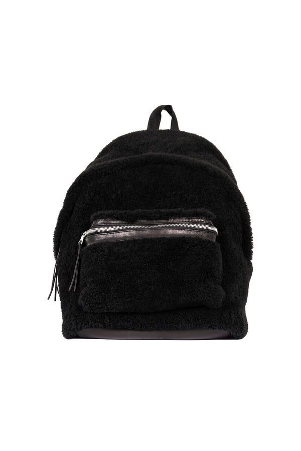 Merino Wool Shearling Backpack Black