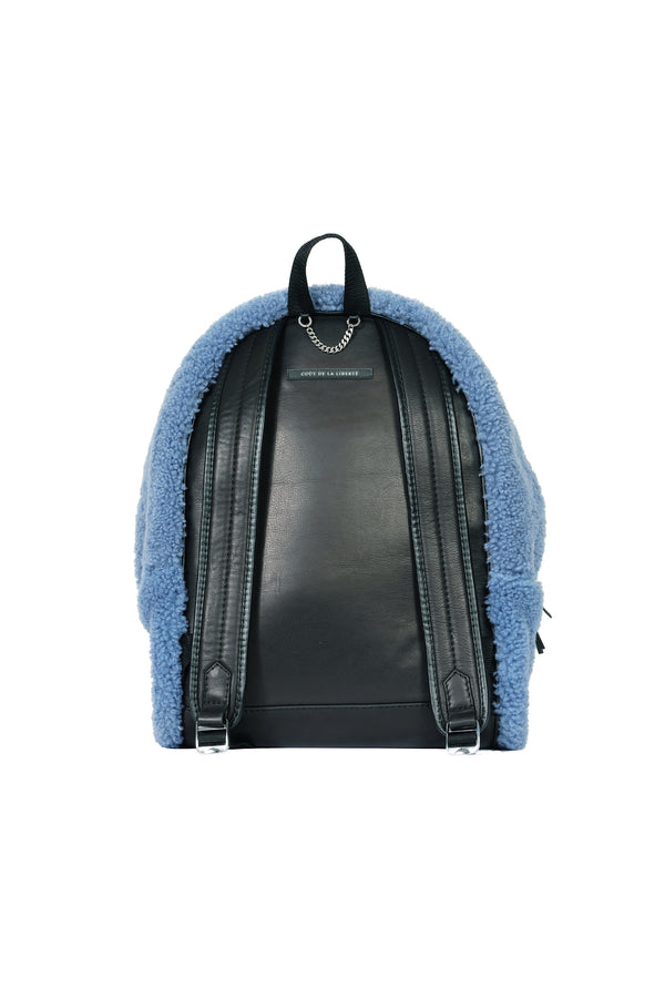 Merino Wool Shearling Backpack Royal Blue