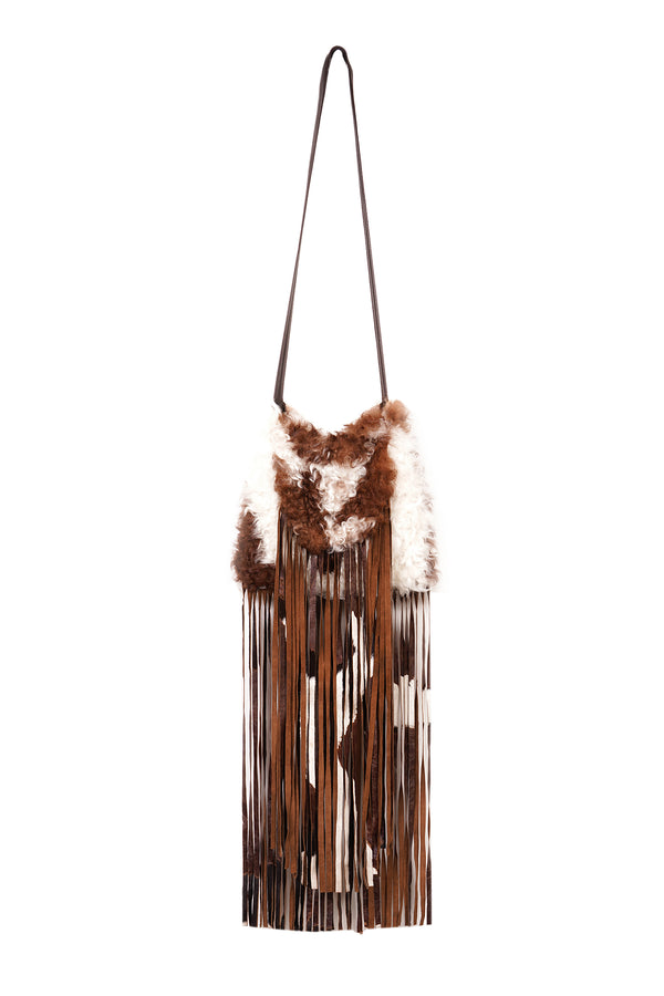 Curly Lamb Fringe Shoulder Bag Multi Brown / Ivory