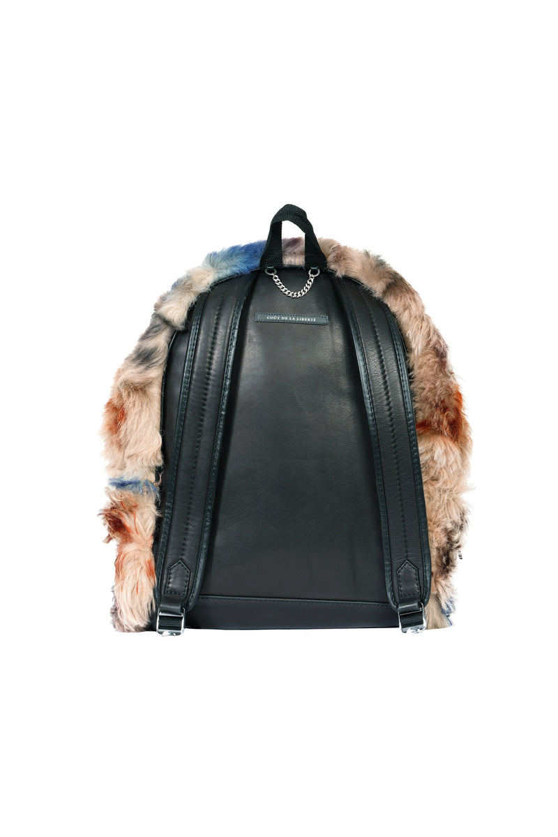 Wool Shearling Tie Dye Backpack Multi Brown