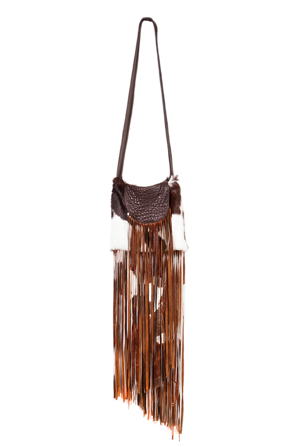 Long Hair Spotted Cow Fringe Shoulder Bag Ivory / Chocolate