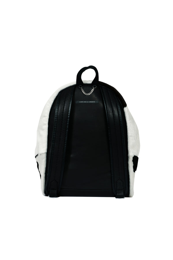 Short Hair Spotted Cow Backpack Ivory / Chocolate