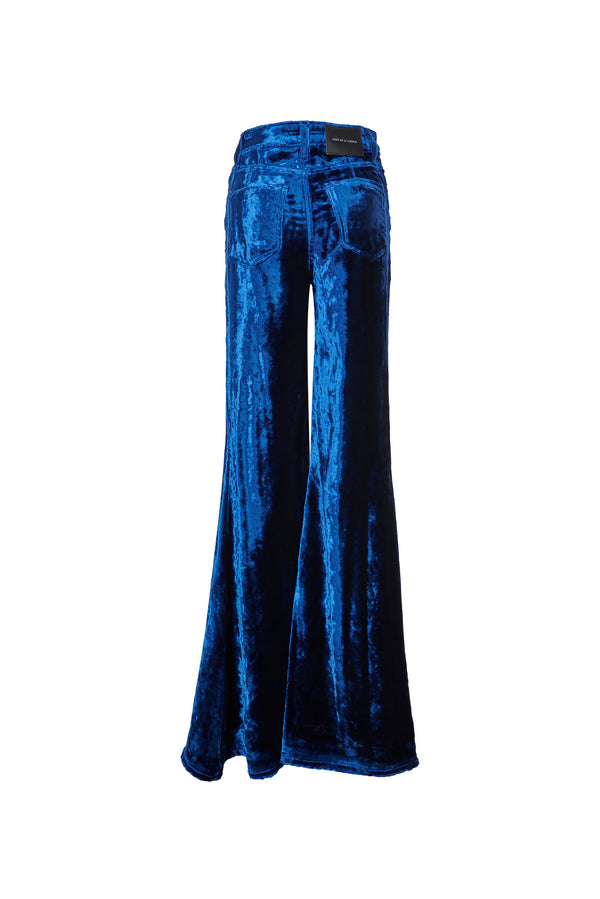 Viscose Velvet Super High Rise Super Bell Pant Navy