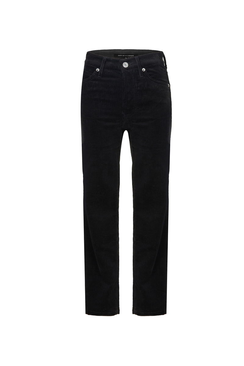 Stretch Cord High Rise Skinny Button Fly Pant Black
