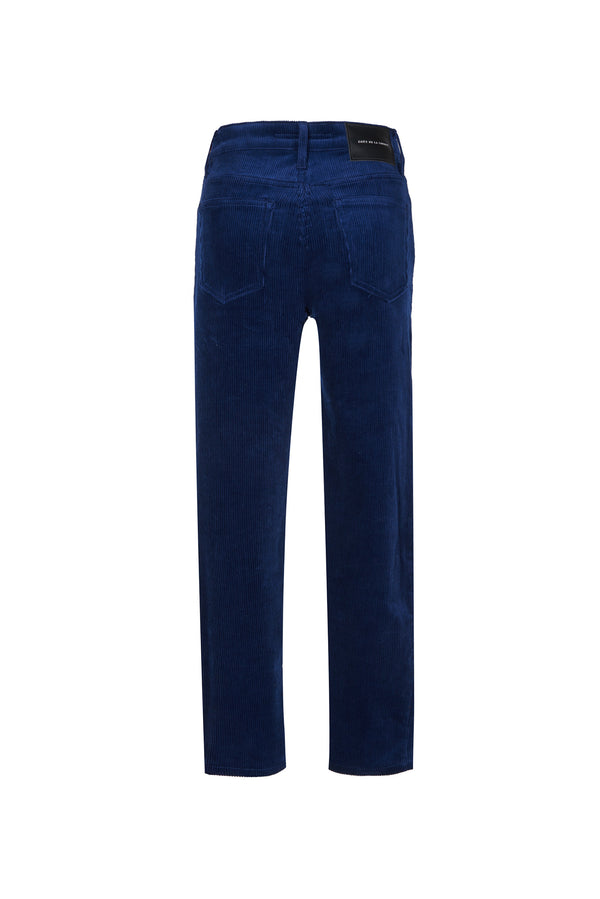 Stretch Cord High Rise Skinny Button Fly Pant Navy
