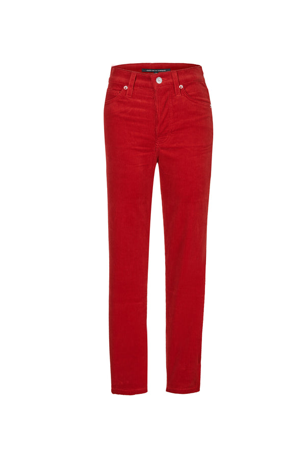 Stretch Cord High Rise Skinny Button Fly Pant Bright Red