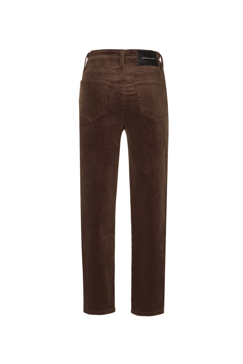 Stretch Cord High Rise Skinny Button Fly Pant Chocolate