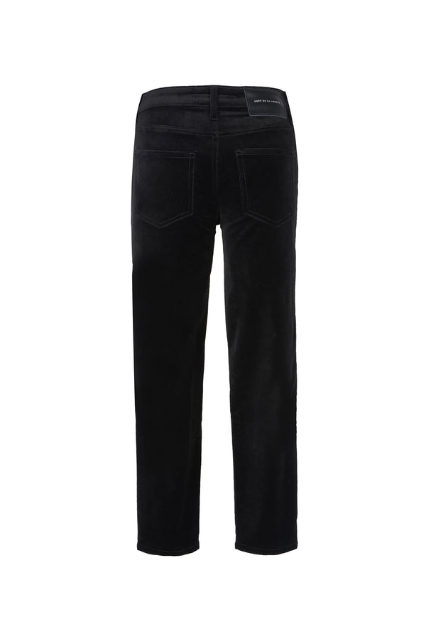 Stretch Velvet Crop Skinny Pant Black