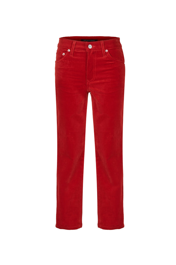Stretch Velvet Crop Skinny Bright Red