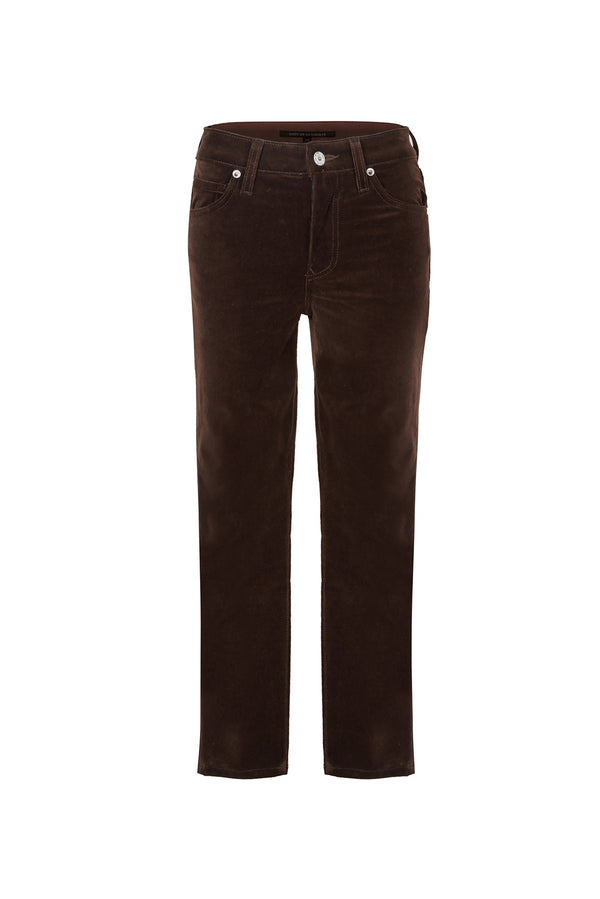 Stretch Velvet Crop Skinny Pant Chocolate