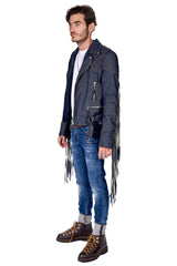 Stretch Denim Fringe Moto Jacket Raw