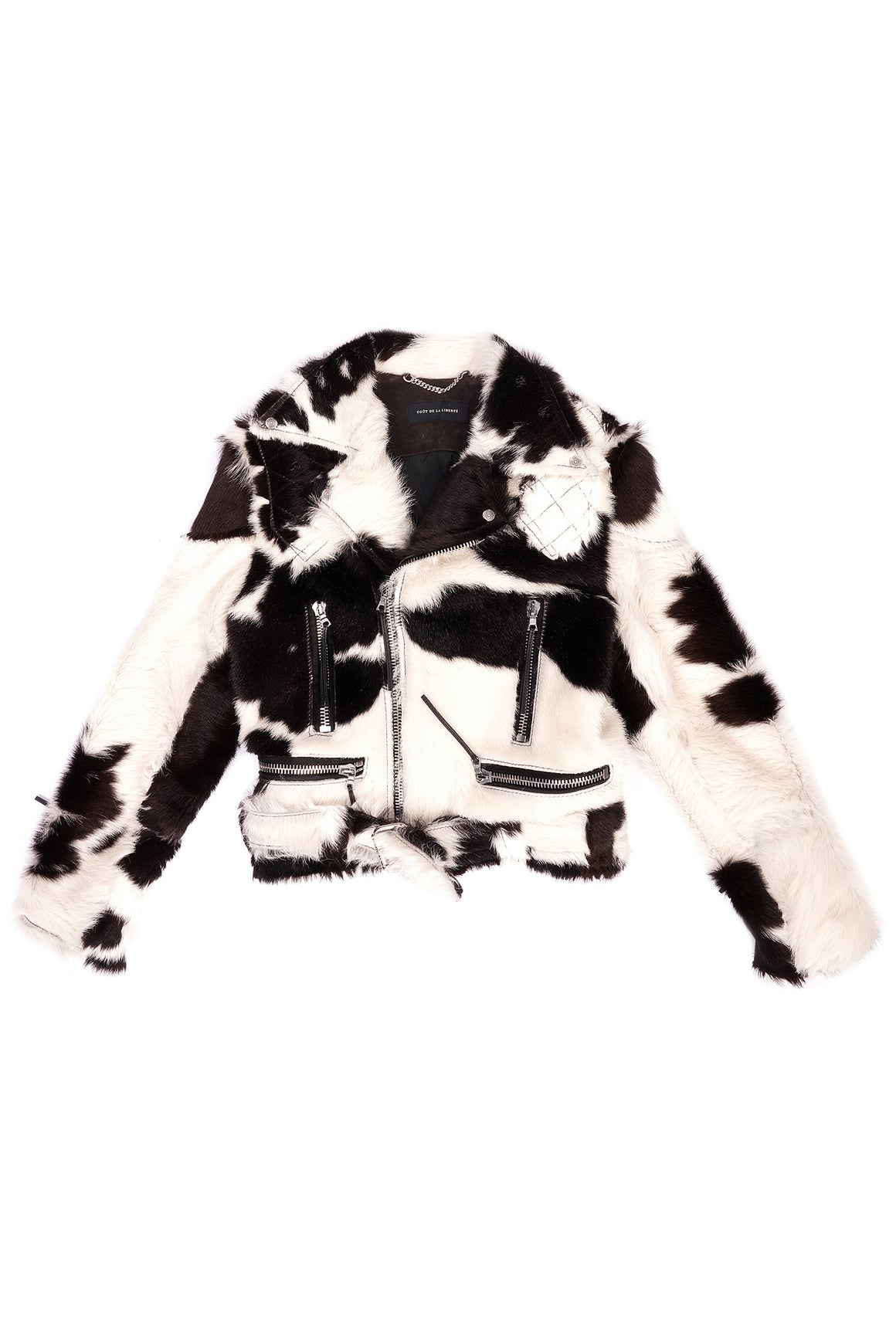 Wool Spotted Long Hair Moto Jacket Ivory / Chocolate