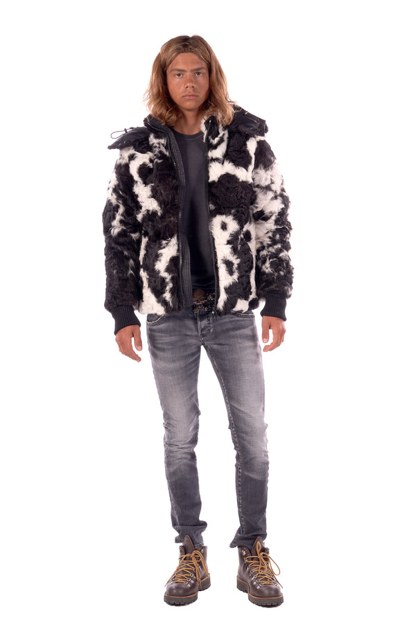 Spotted Lamb Down Jacket Black / White