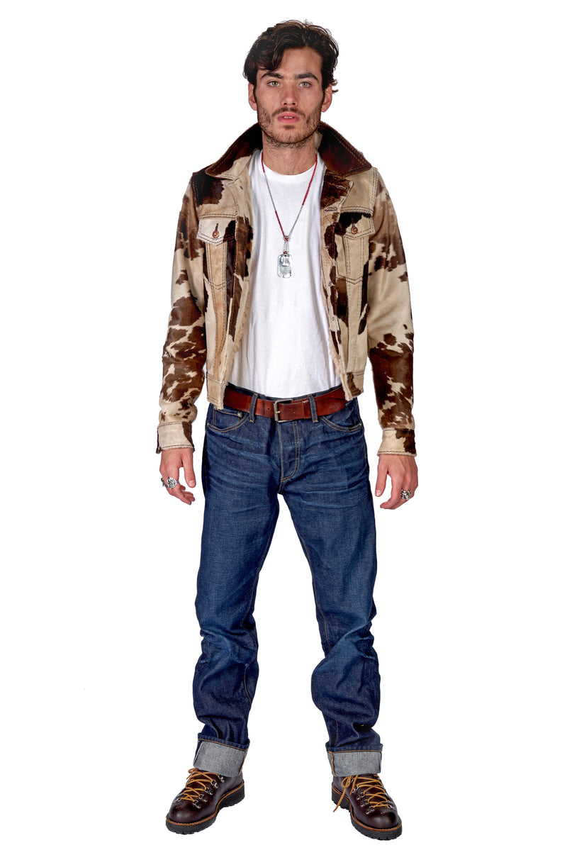Pintos Burn Out Trucker Jacket Ivory / Mixed Brown