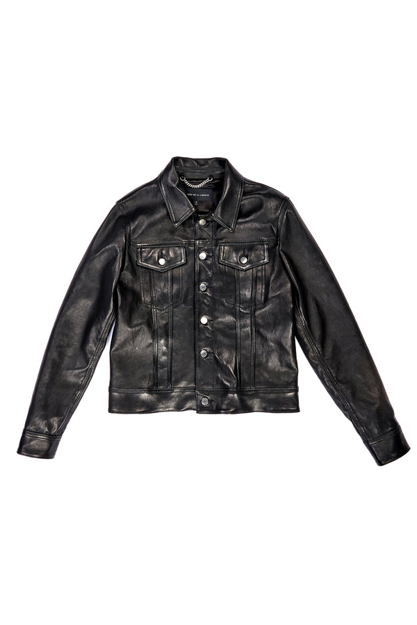 Polished Stretch Lambskin Trucker Jacket Black