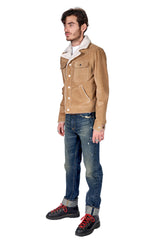 Suede Worker Trucker Jacket Beige