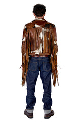 Pontos Fringe Moto Jacket Dark Brown / Ivory