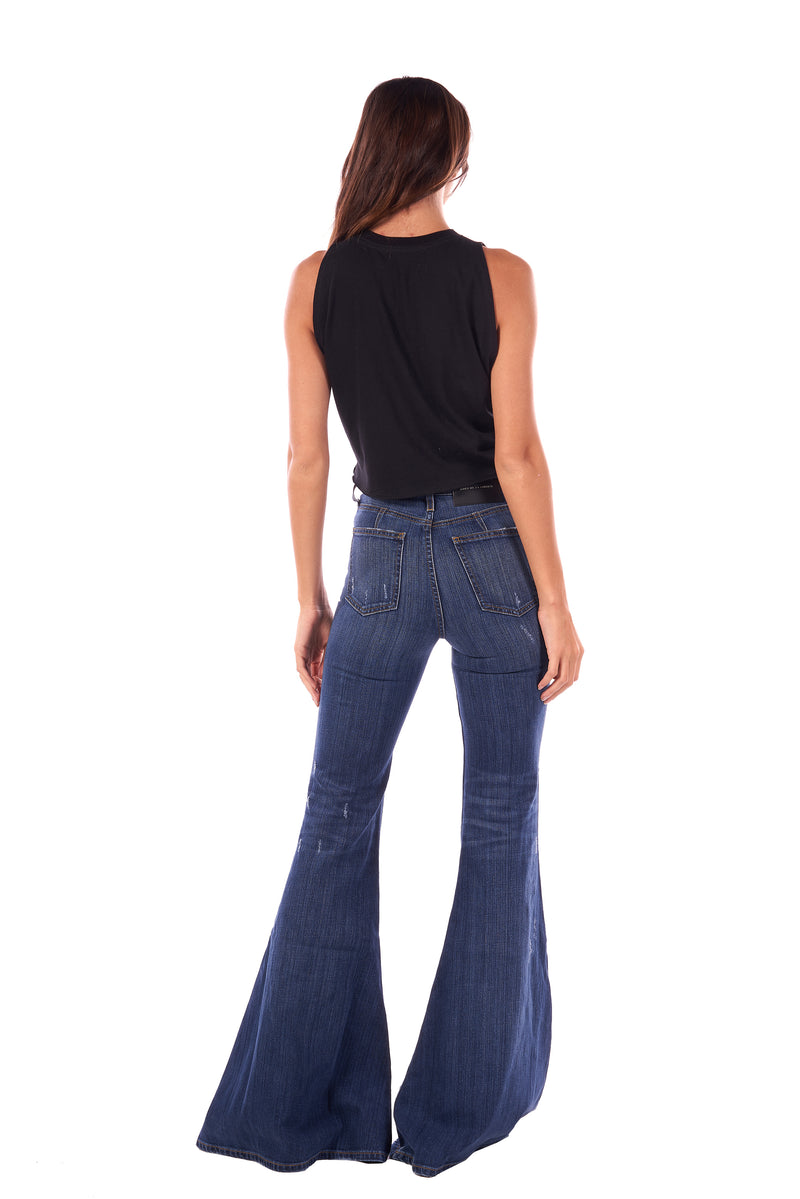 Stretch Denim Super High Rise Super Bell Pant Garbo
