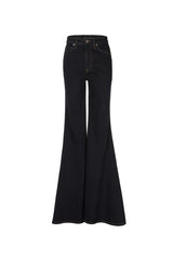 Heidi/ Stretch Denim Super High Rise Super Bell Pant Black