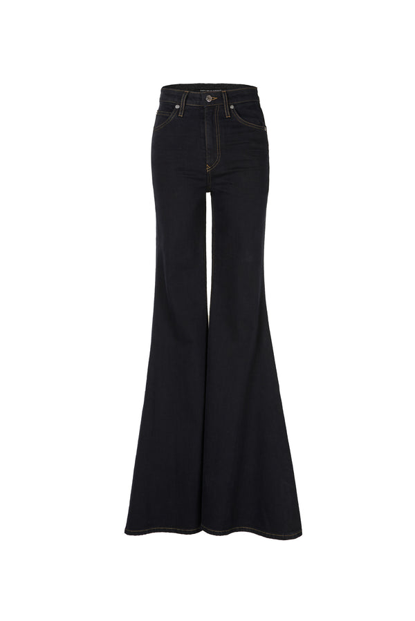 Stretch Denim Super High Rise Super Bell Pant Black Overdye
