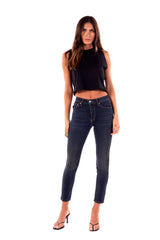 Stretch Denim High Rise Skinny Button Fly Pant Taylor Dark