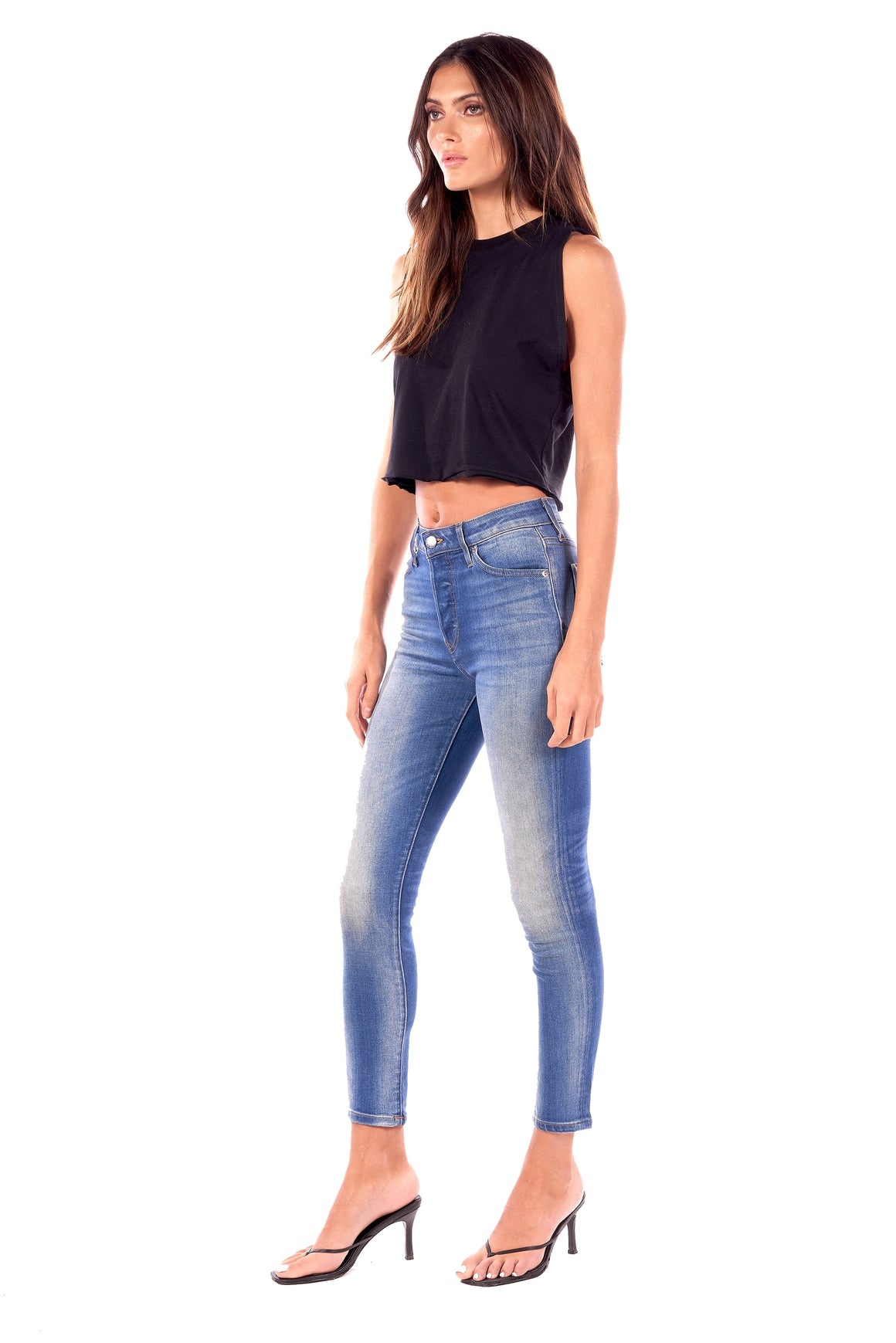 Stretch Denim High Rise Skinny Button Fly Pant Taylor Medium