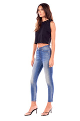 Elle/ Stretch Denim High Rise Skinny Button Fly Pants Taylor Medium