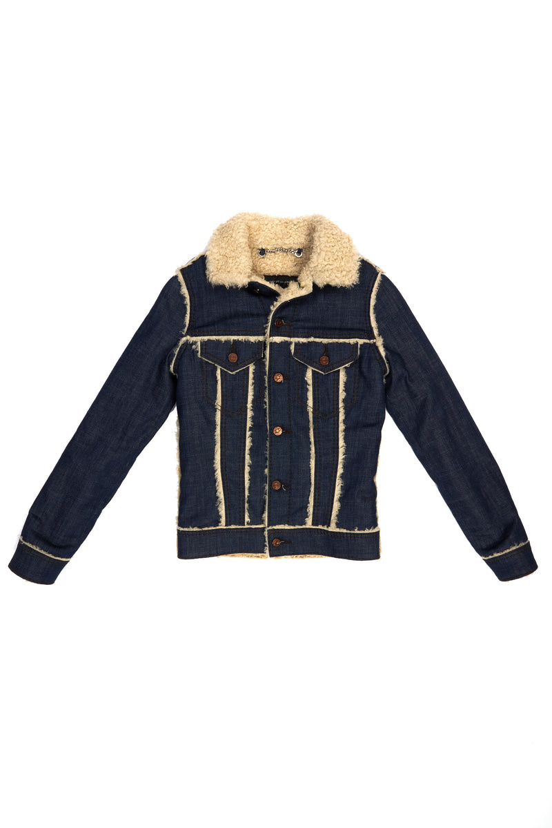 Non-Stretch Denim Sherpa Jacket Raw