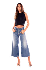 Tyra/ Stretch Denim Wide Leg Crop Pants Quinn