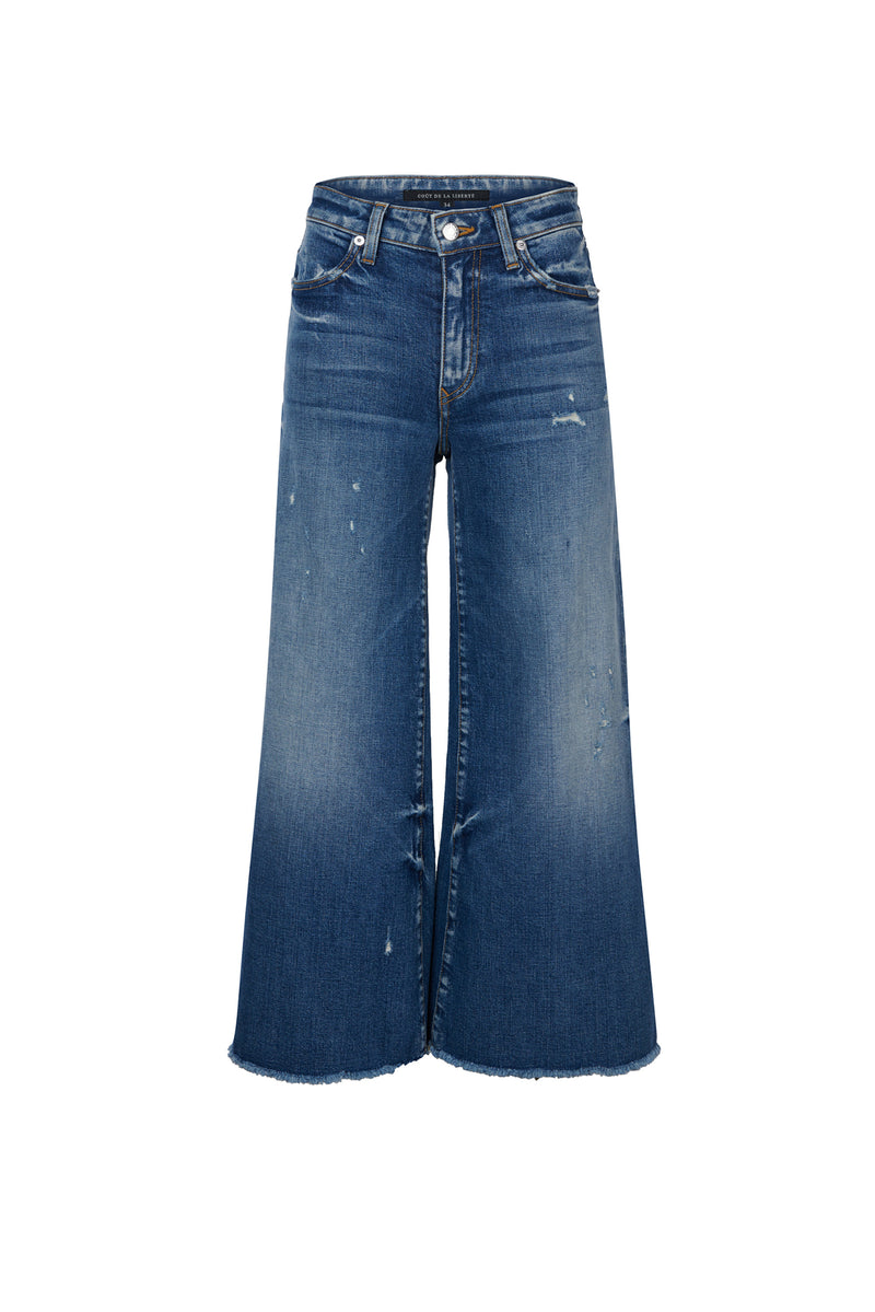Stretch Denim Wide Leg Crop Pant Quinn