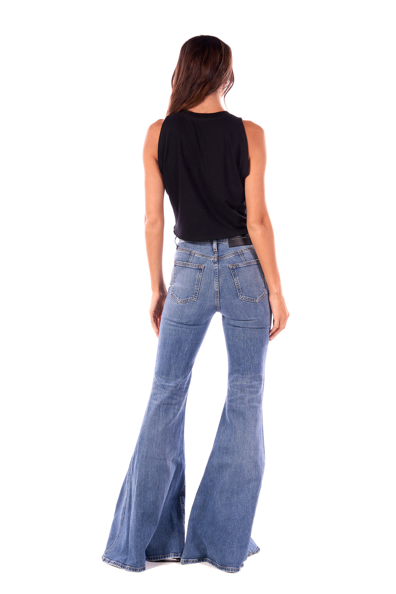 Heidi/ Stretch Denim Super High Rise Super Bell Pants Astor