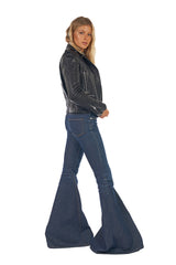 Stretch Denim Low Rise Super Flare Pant Lancaster