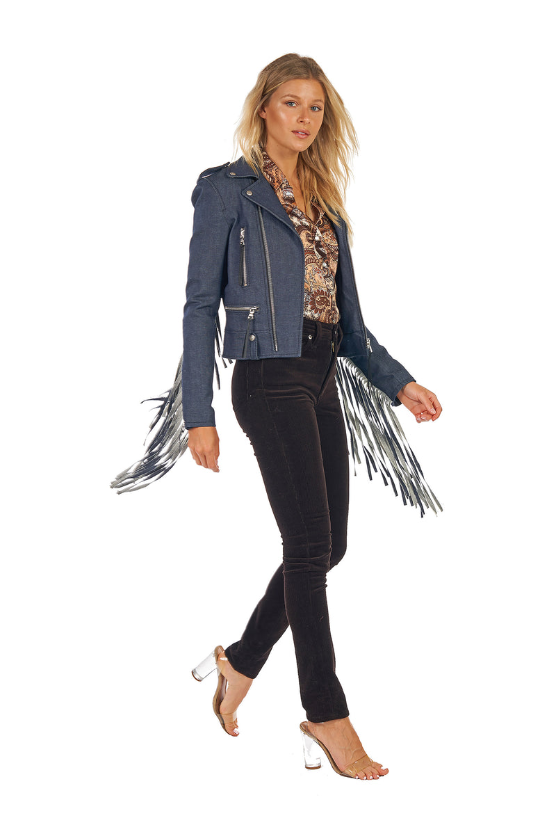 Stella/Denim Fringe Moto Jacket Raw