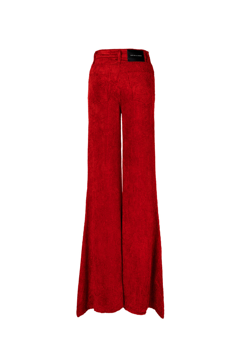 Wide Wale Viscose Cord Super High Rise Super Bell Pant Bright Red
