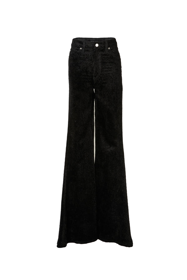 Wide Wale Viscose Cord Super High Rise Super Bell Pant Black