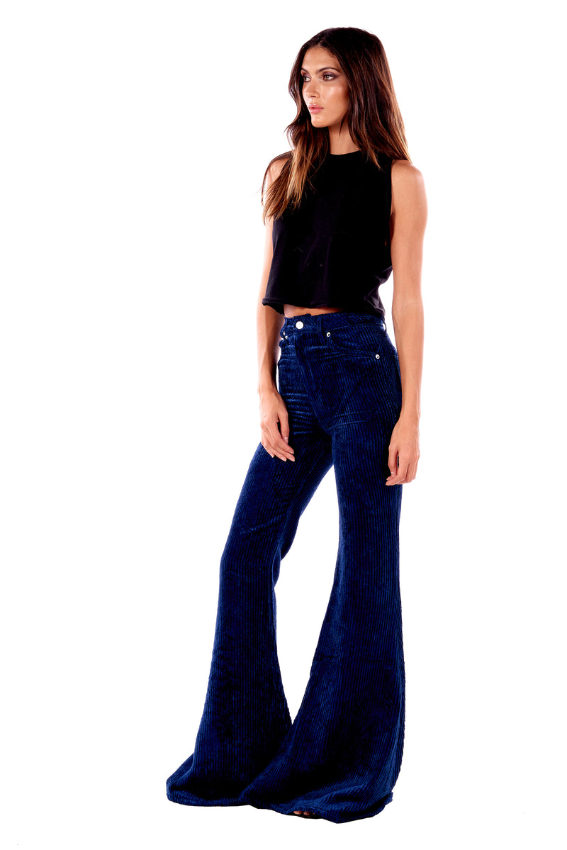 Wide Wale Viscose Cord Super High Rise Super Bell Pant Navy