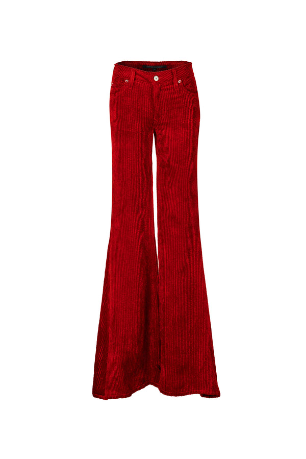 Wide Wale Viscose Cord Low Rise Super Flare Pant Red