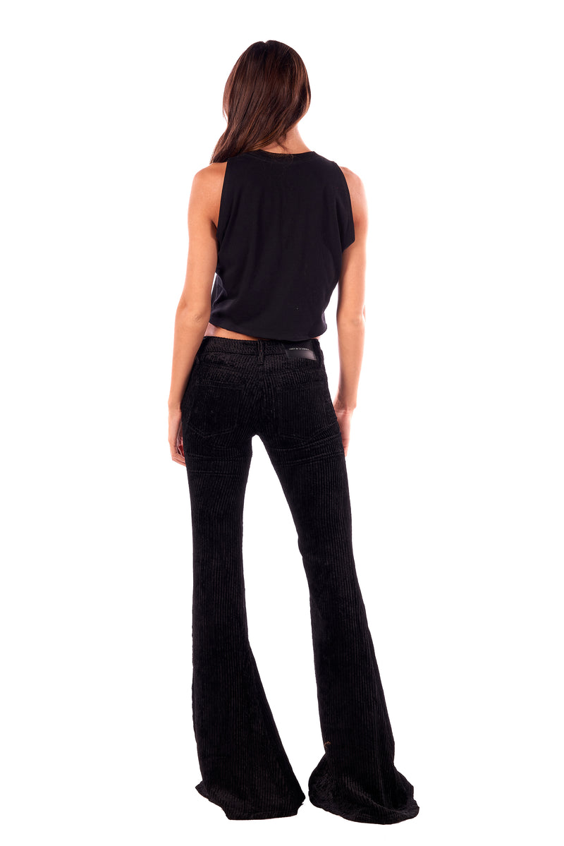 Wide Wale Viscose Cord Low Rise Super Flare Pant Black