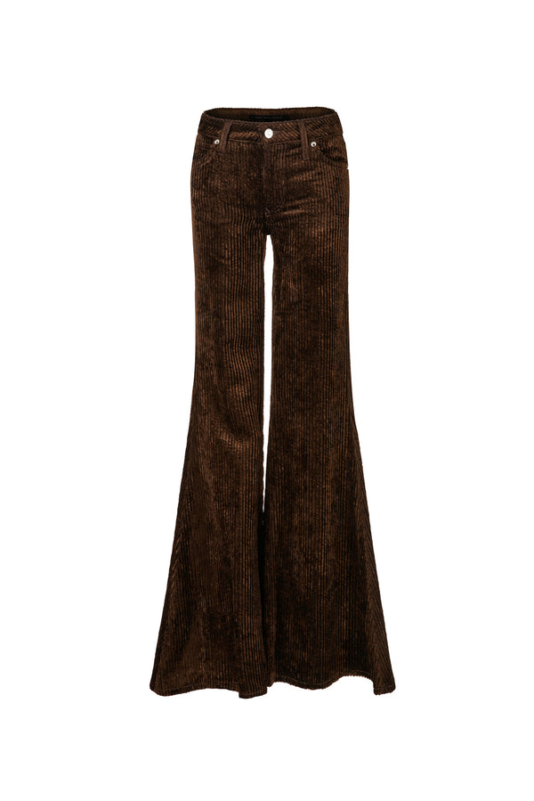 Wide Wale Viscose Cord Low Rise Super Flare Pant Chocolate