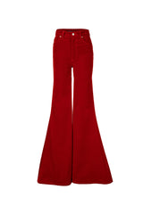 Stretch Velvet Super High Rise Super Bell Pant Bright Red