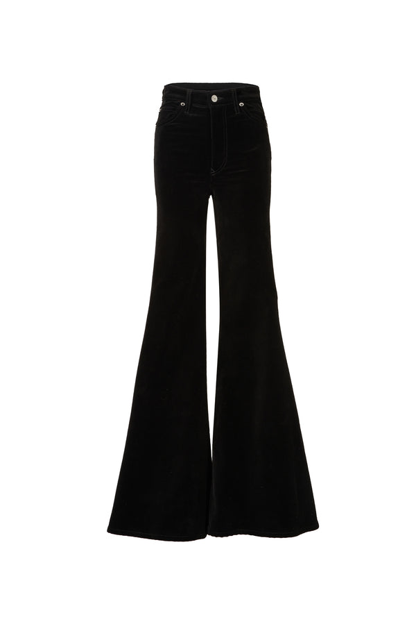 Stretch Velvet Super High Rise Super Bell Pant Black