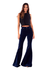 Stretch Velvet Mid Rise Super Flare Pant Navy