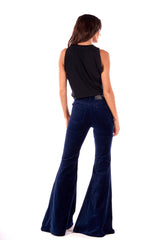 Stretch Velvet Super High Rise Super Bell Pant Navy