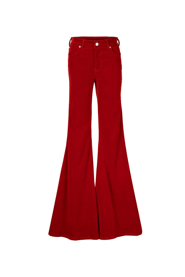 Stretch Velvet Mid Rise Super Flare Pant Bright Red